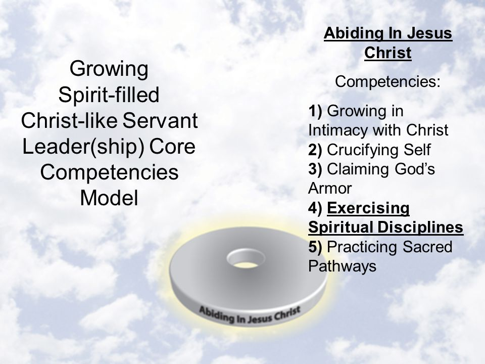 Abiding In Jesus Christ Competencies: 1) Growing in Intimacy with Christ 2) Crucifying Self 3) Claiming God's Armor 4) Exercising Spiritual Disciplines 5) Practicing Sacred Pathways