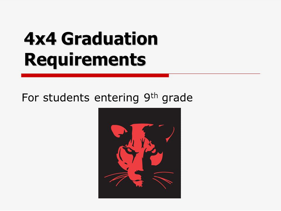 4x4 Graduation Requirements For students entering 9 th grade