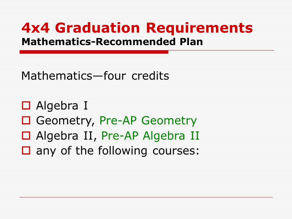 4x4 Graduation Requirements Mathematics-Recommended Plan Mathematics—four credits  Algebra I  Geometry, Pre-AP Geometry  Algebra II, Pre-AP Algebra II  any of the following courses: