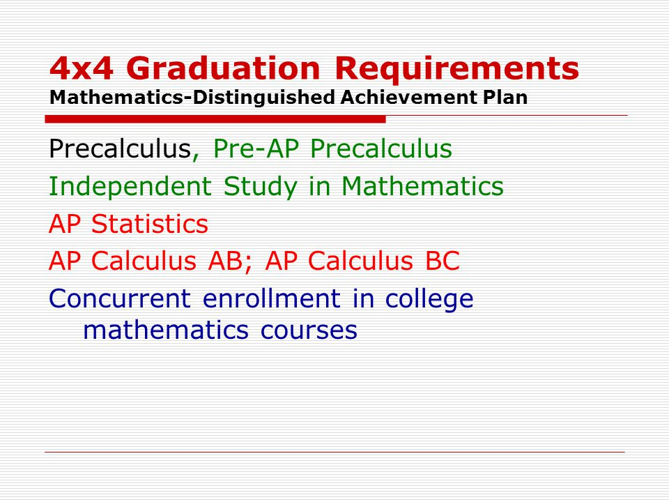 4x4 Graduation Requirements Mathematics-Distinguished Achievement Plan Precalculus, Pre-AP Precalculus Independent Study in Mathematics AP Statistics AP Calculus AB; AP Calculus BC Concurrent enrollment in college mathematics courses