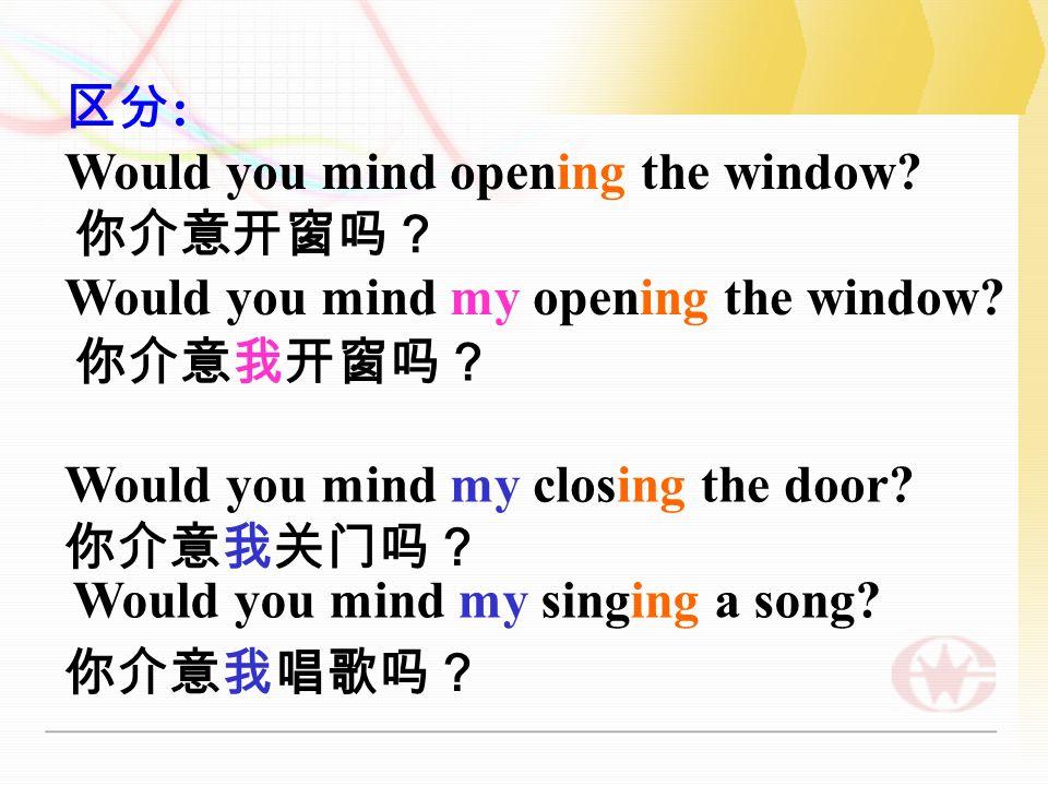 拓展延伸 Would / Do you mind + V-ing . 都是礼貌用语,常译为 你介意 … .