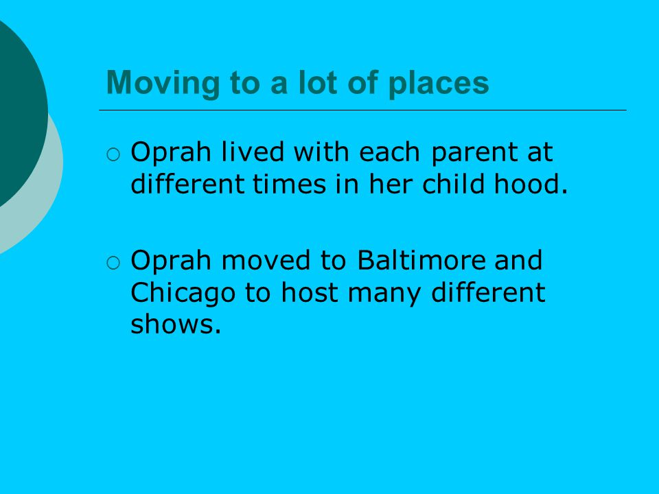  About this time Oprah started to get in trouble.
