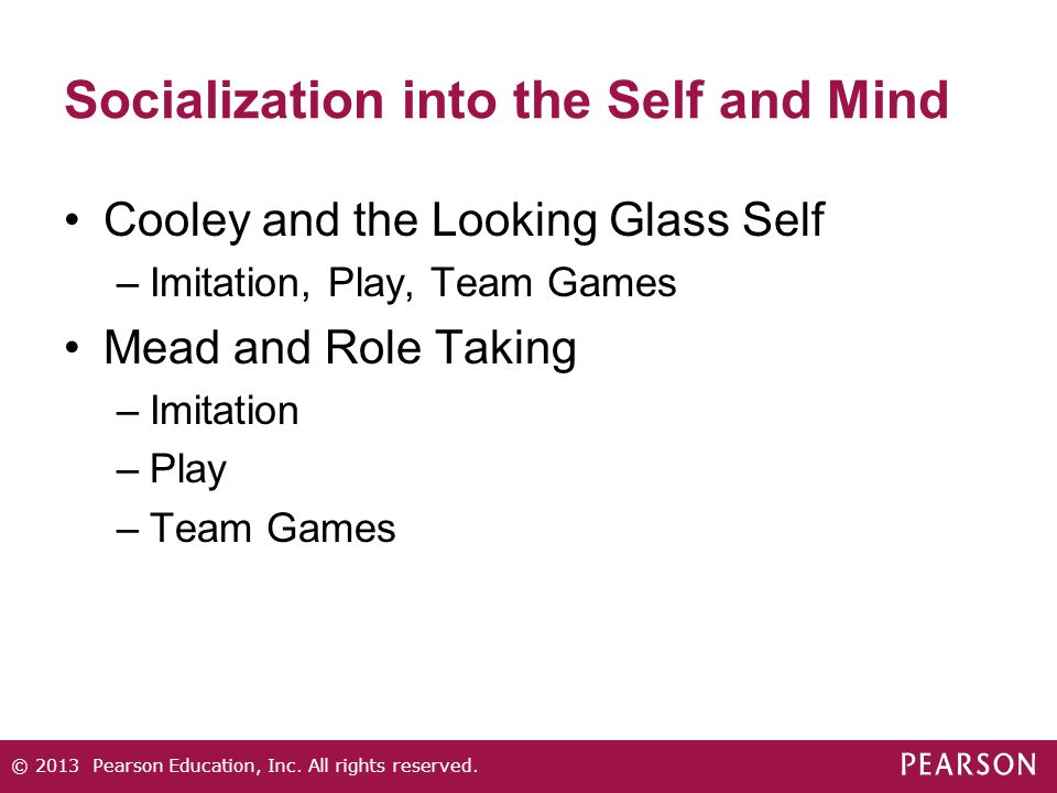 Socialization into the Self and Mind Cooley and the Looking Glass Self –Imitation, Play, Team Games Mead and Role Taking –Imitation –Play –Team Games