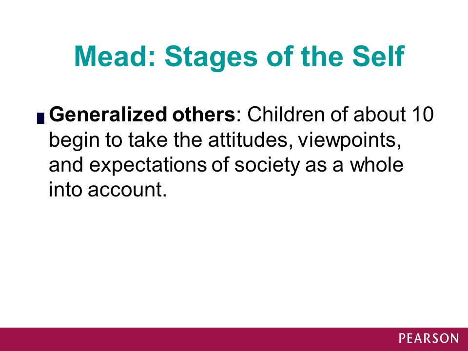Mead: Stages of the Self █ Generalized others: Children of about 10 begin to take the attitudes, viewpoints, and expectations of society as a whole in
