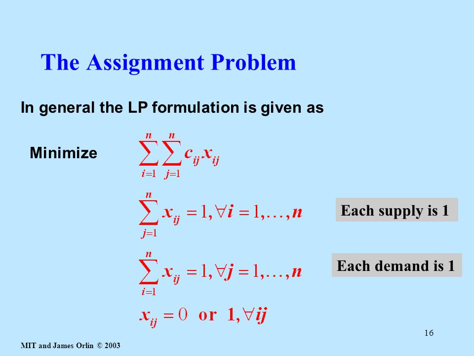 MIT and James Orlin © 2003 16 The Assignment Problem In general the LP formulation is given as Minimize Each supply is 1 Each demand is 1