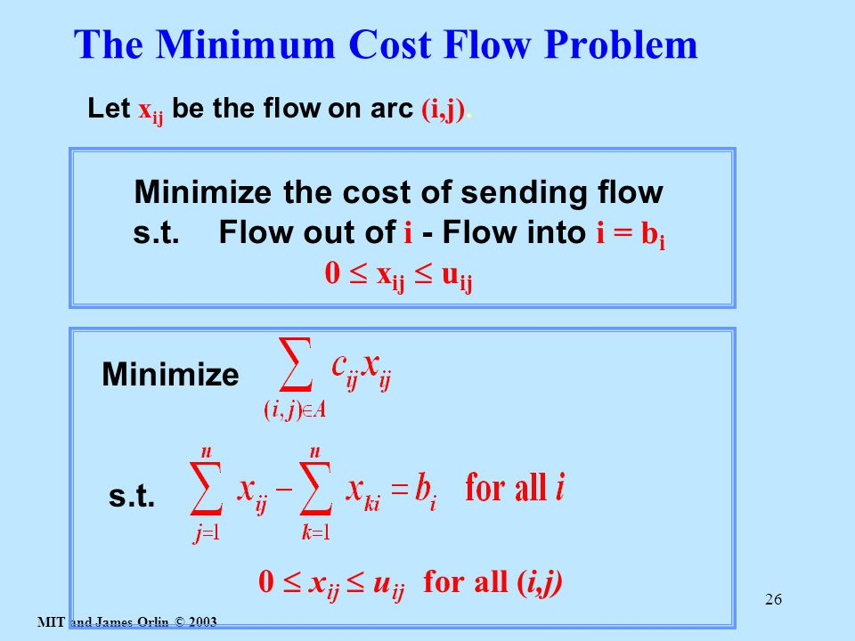 MIT and James Orlin © 2003 26 The Minimum Cost Flow Problem Let x ij be the flow on arc (i,j).