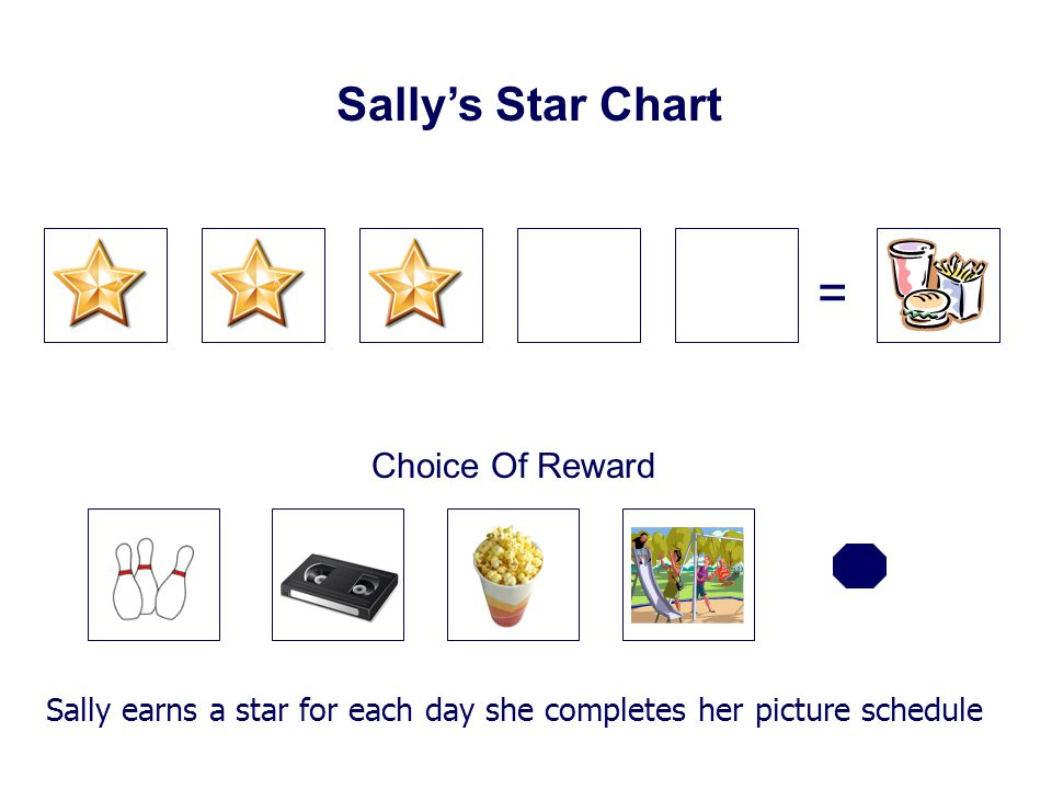 = Sally's Star Chart Choice Of Reward Sally earns a star for each day she completes her picture schedule