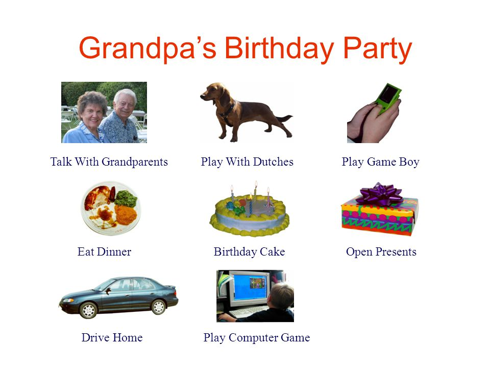 Grandpa's Birthday Party Talk With Grandparents Play With Dutches Play Game Boy Eat Dinner Birthday Cake Open Presents Drive Home Play Computer Game