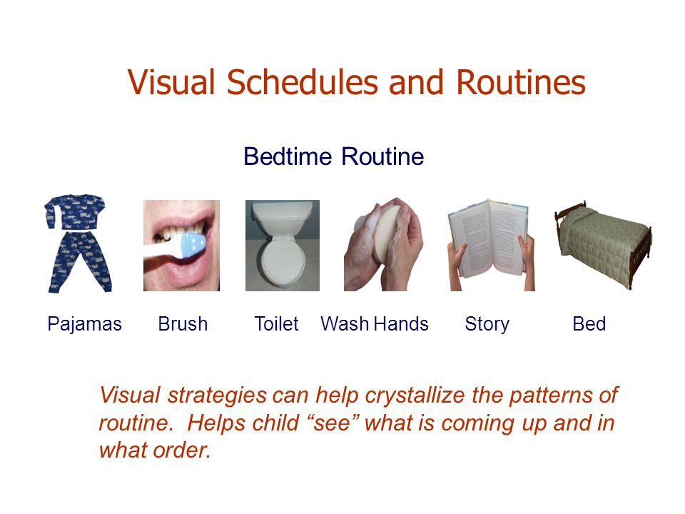 Bedtime Routine Pajamas Brush Toilet Wash Hands Story Bed Visual Schedules and Routines Visual strategies can help crystallize the patterns of routine.