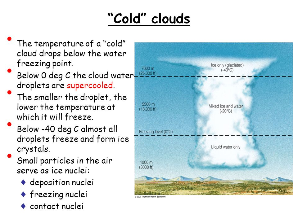 Cold clouds The temperature of a cold cloud drops below the water freezing point.