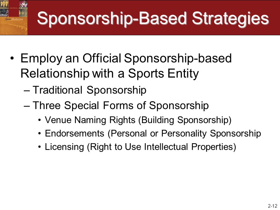 2-12 Sponsorship-Based Strategies Employ an Official Sponsorship-based Relationship with a Sports Entity –Traditional Sponsorship –Three Special Forms