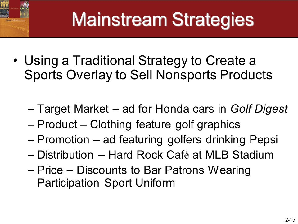 2-15 Mainstream Strategies Using a Traditional Strategy to Create a Sports Overlay to Sell Nonsports Products –Target Market – ad for Honda cars in Go