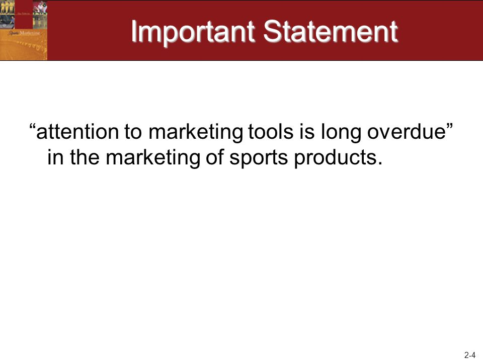 2-15 Mainstream Strategies Using a Traditional Strategy to Create a Sports Overlay to Sell Nonsports Products –Target Market – ad for Honda cars in Golf Digest –Product – Clothing feature golf graphics –Promotion – ad featuring golfers drinking Pepsi –Distribution – Hard Rock Caf é at MLB Stadium –Price – Discounts to Bar Patrons Wearing Participation Sport Uniform