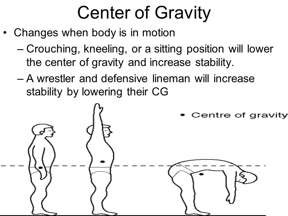 Center of Gravity Changes when body is in motion –Crouching, kneeling, or a sitting position will lower the center of gravity and increase stability.