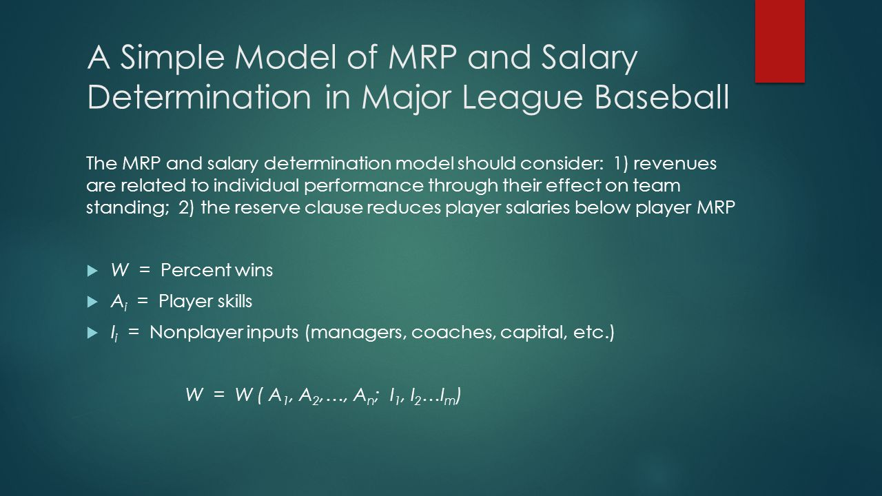 A Simple Model of MRP and Salary Determination (cont.) Teams derive revenue from gate receipts and broadcast rights, which are directly related to the team's percent wins and population in the area  R = Team revenue  p = Ticket price  T = Number of tickets sold  W = Team performance  P i = Potential broadcast households  B = Broadcast revenues  W = Percent wins  A i = Player skills  I i = Nonplayer inputs (managers, coaches, capital, etc.) R = p · T [ W ( A i, I j ), P a ] + B [ W ( A i, I j ), P b ] i = 1,…, n; j = 1,…, m)