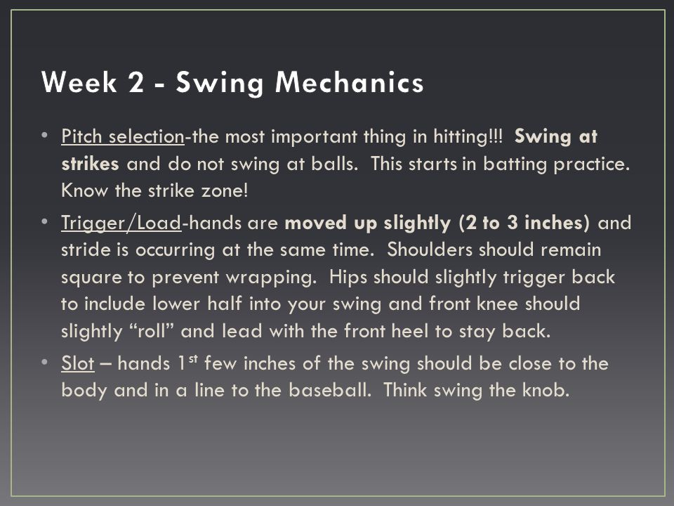 Pitch selection-the most important thing in hitting!!! Swing at strikes and do not swing at balls. This starts in batting practice. Know the strike zo