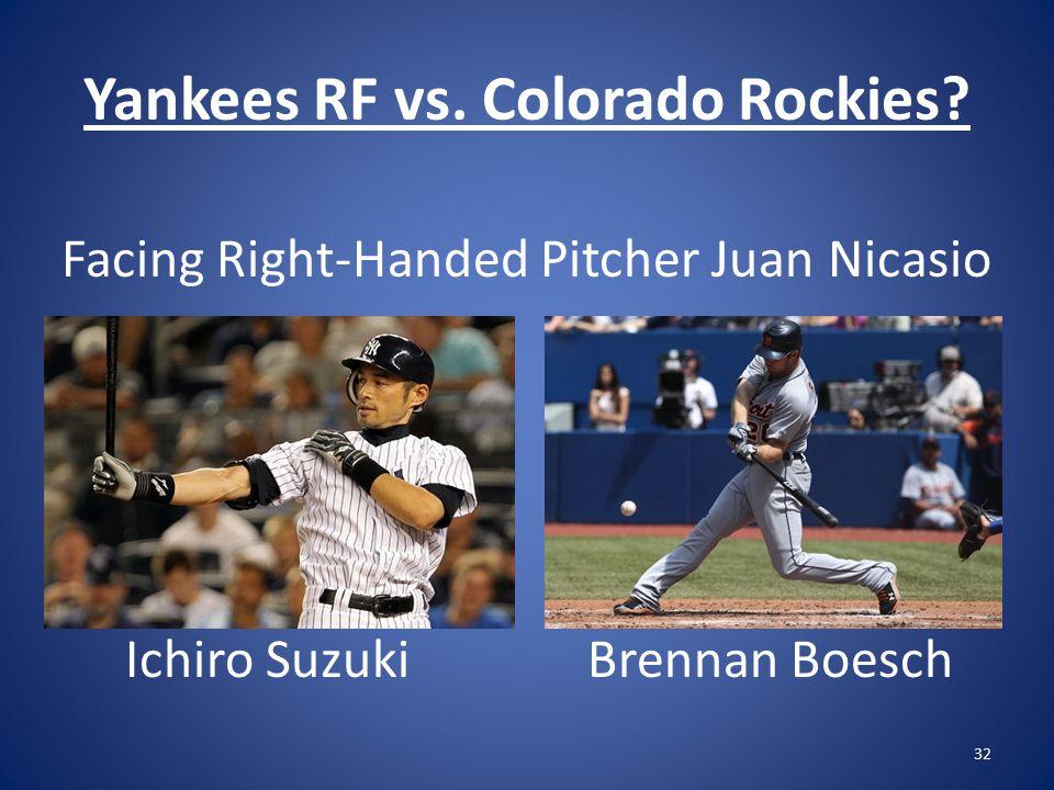 Yankees RF vs. Colorado Rockies.