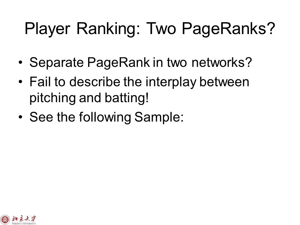 Player Ranking: Two PageRanks. Separate PageRank in two networks.