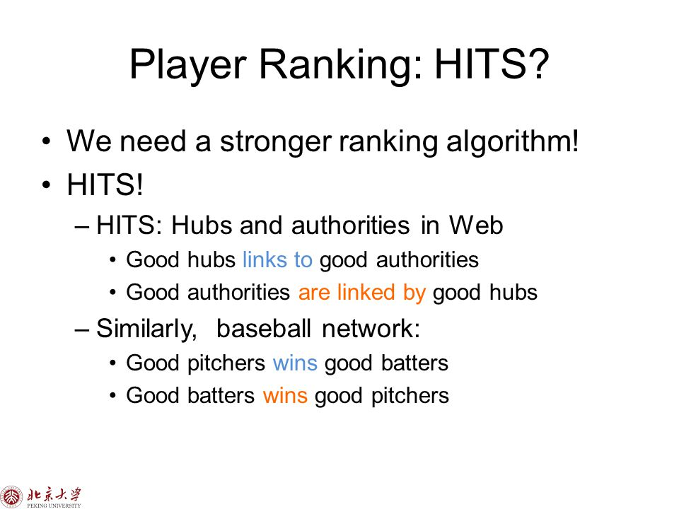 Player Ranking: HITS. We need a stronger ranking algorithm.