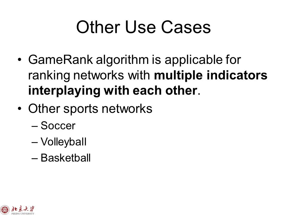 Other Use Cases GameRank algorithm is applicable for ranking networks with multiple indicators interplaying with each other.