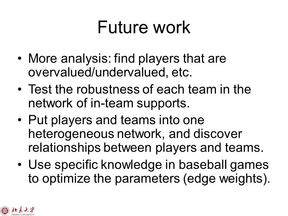 Future work More analysis: find players that are overvalued/undervalued, etc.