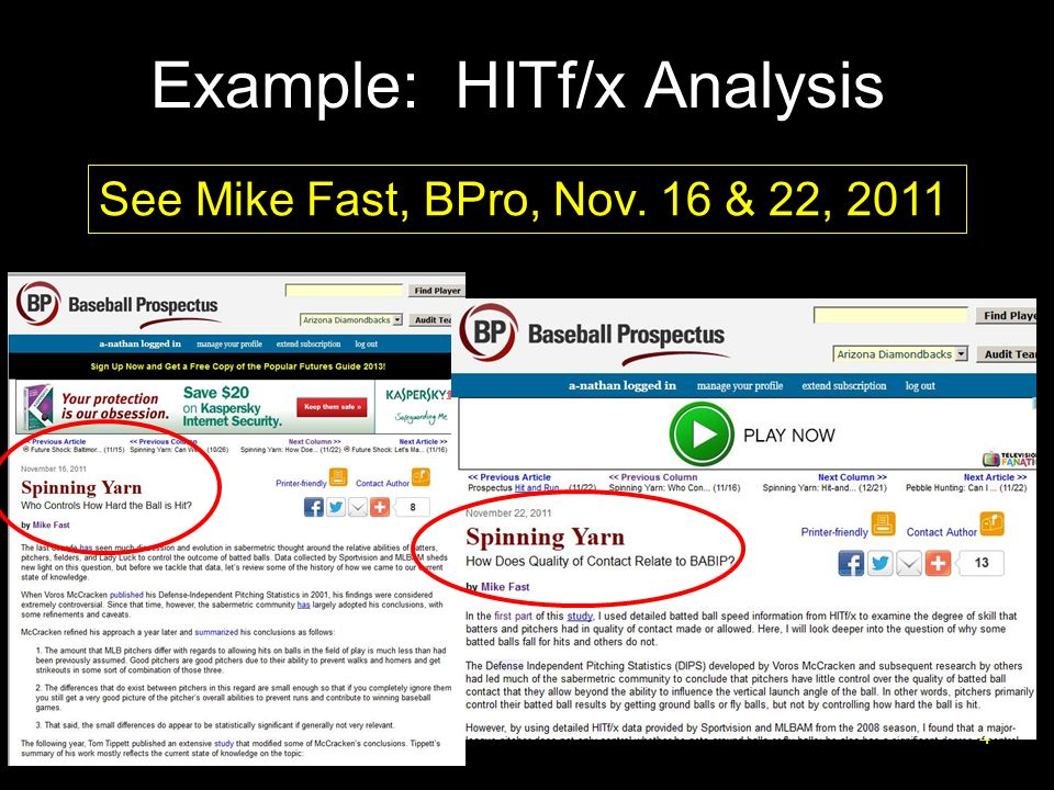 Example: HITf/x Analysis 4 See Mike Fast, BPro, Nov. 16 & 22, 2011