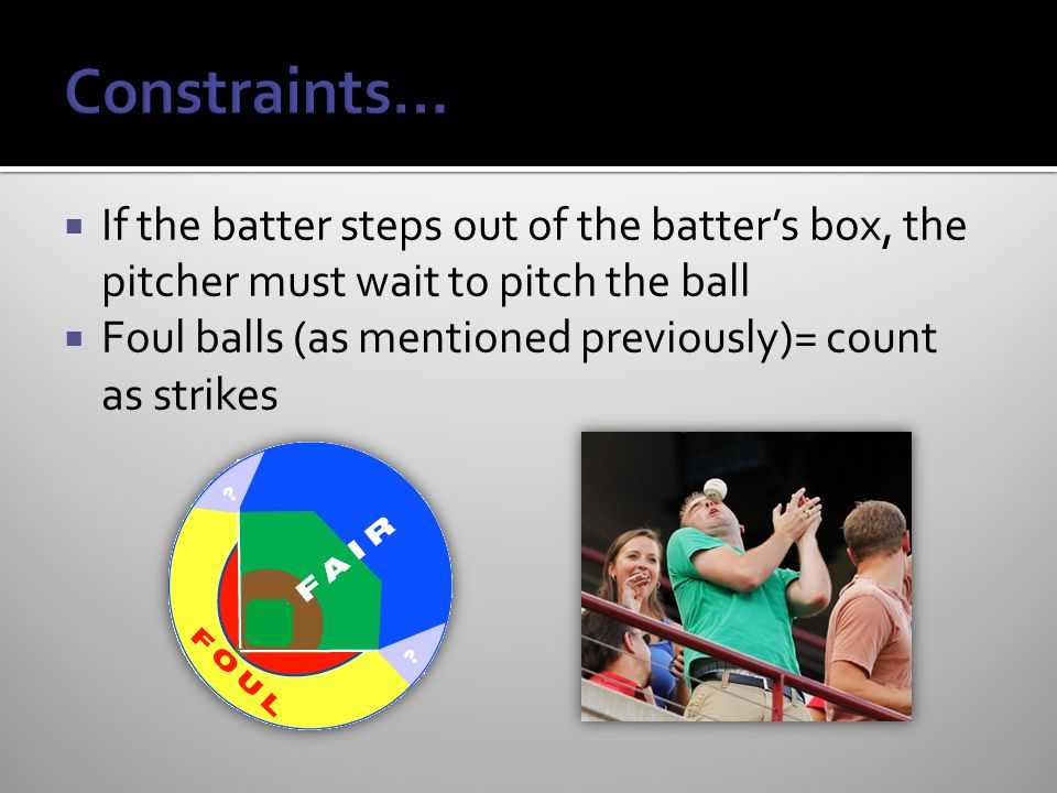  If the batter steps out of the batter's box, the pitcher must wait to pitch the ball  Foul balls (as mentioned previously)= count as strikes