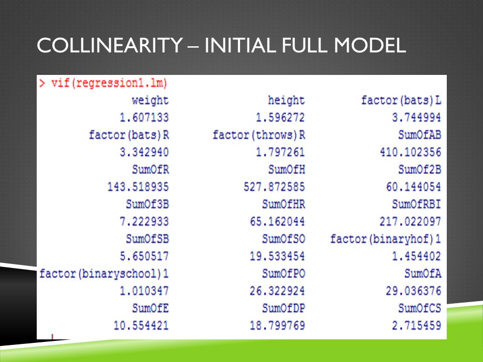 COLLINEARITY – INITIAL FULL MODEL