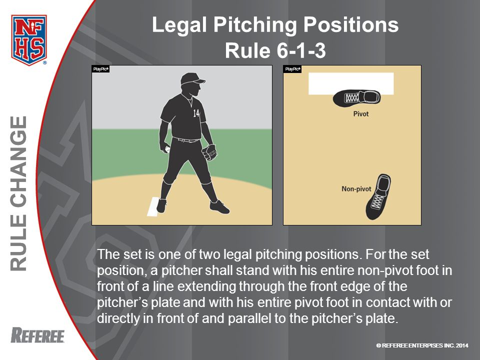 © REFEREE ENTERPISES INC. 2014 RULE CHANGE © REFEREE ENTERPISES INC. 2014 RULE CHANGE Legal Pitching Positions Rule 6-1-3 The set is one of two legal