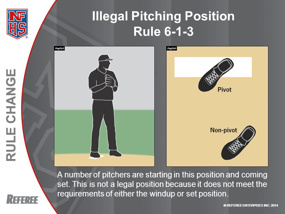 © REFEREE ENTERPISES INC. 2014 RULE CHANGE © REFEREE ENTERPISES INC. 2014 RULE CHANGE Illegal Pitching Position Rule 6-1-3 A number of pitchers are st