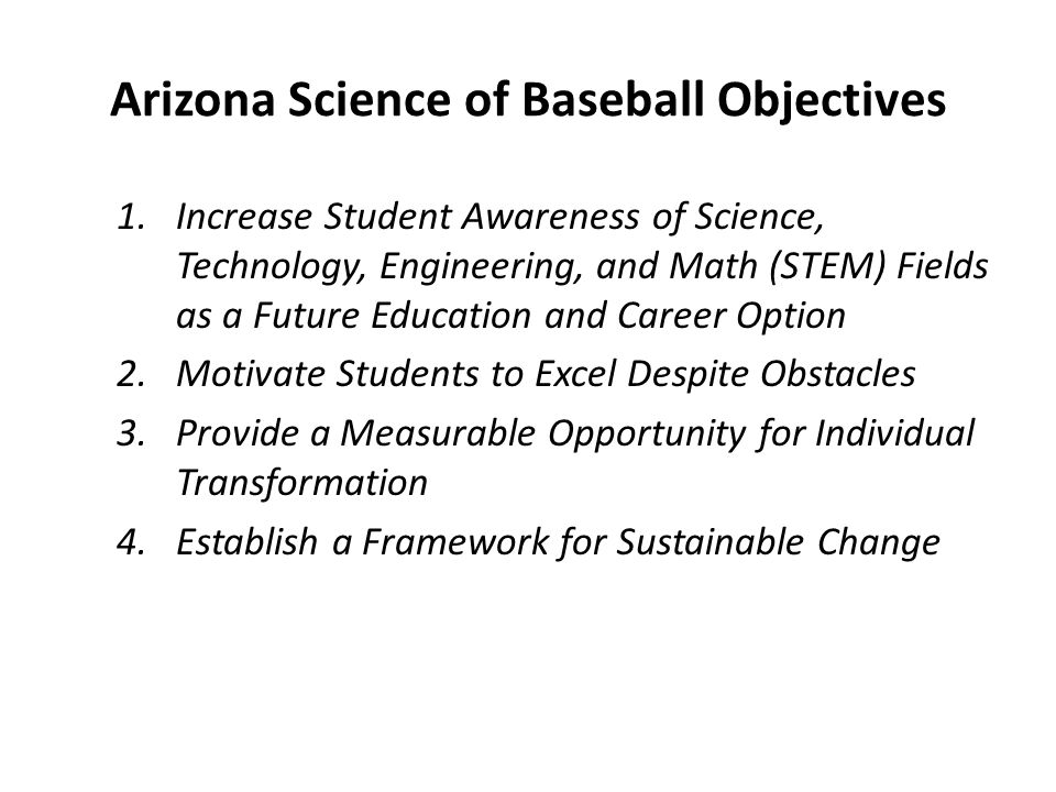 STEM Topics in the context of Baseball BiologyMathematicsPhysics Sports safetyBase runningHigh altitude baseball Reaction time for batters and runners Geometric angles on the baseball field Temperature effects on baseball flight Heart rate Finding the sweet spot of the bat Bat materials Muscle fatigueBatting averagesSwing mechanics Nutrition Baseball statistics/sabermetrics Hitting a ball in motion StressBatter/pitcher matchupHome run distances at different ballparks
