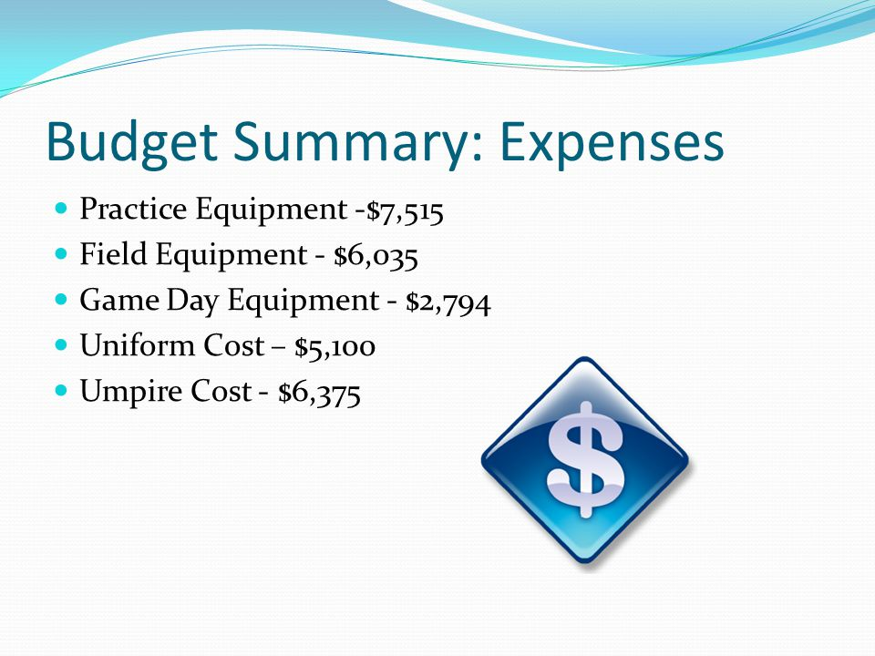Budget Summary: Expenses Practice Equipment -$7,515 Field Equipment - $6,035 Game Day Equipment - $2,794 Uniform Cost – $5,100 Umpire Cost - $6,375