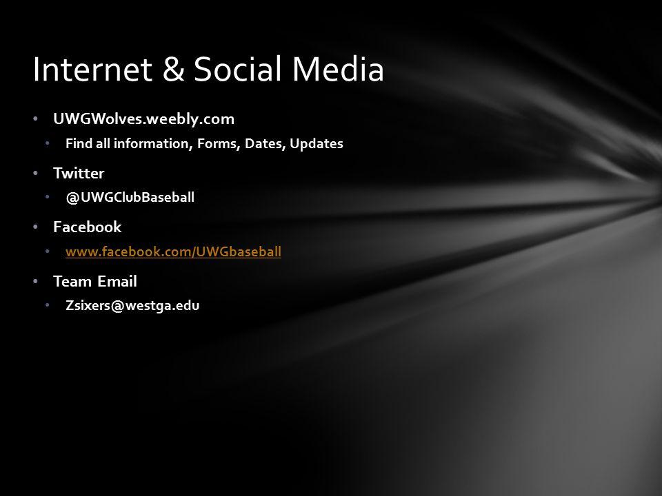 UWGWolves.weebly.com Find all information, Forms, Dates, Updates Twitter @UWGClubBaseball Facebook www.facebook.com/UWGbaseball Team Email Zsixers@westga.edu Internet & Social Media