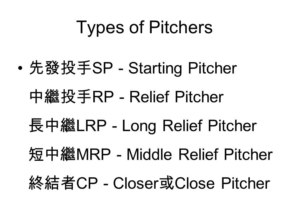 Types of Pitchers 先發投手 SP - Starting Pitcher 中繼投手 RP - Relief Pitcher 長中繼 LRP - Long Relief Pitcher 短中繼 MRP - Middle Relief Pitcher 終結者 CP - Closer 或