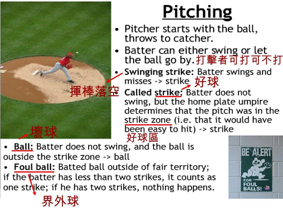 壞球 好球區 打擊者可打可不打 好球 揮棒落空 界外球