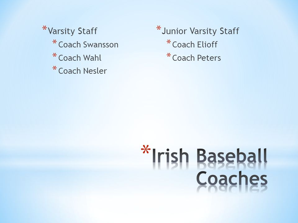 * Varsity Staff * Coach Swansson * Coach Wahl * Coach Nesler * Junior Varsity Staff * Coach Elioff * Coach Peters