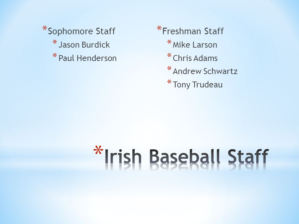 * Sophomore Staff * Jason Burdick * Paul Henderson * Freshman Staff * Mike Larson * Chris Adams * Andrew Schwartz * Tony Trudeau