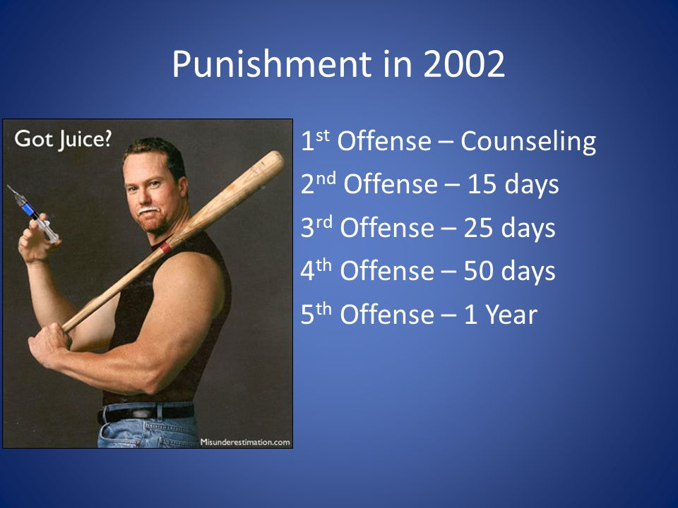 Punishment in 2002 1 st Offense – Counseling 2 nd Offense – 15 days 3 rd Offense – 25 days 4 th Offense – 50 days 5 th Offense – 1 Year