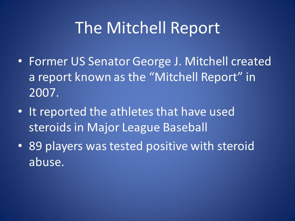 The Mitchell Report Former US Senator George J.