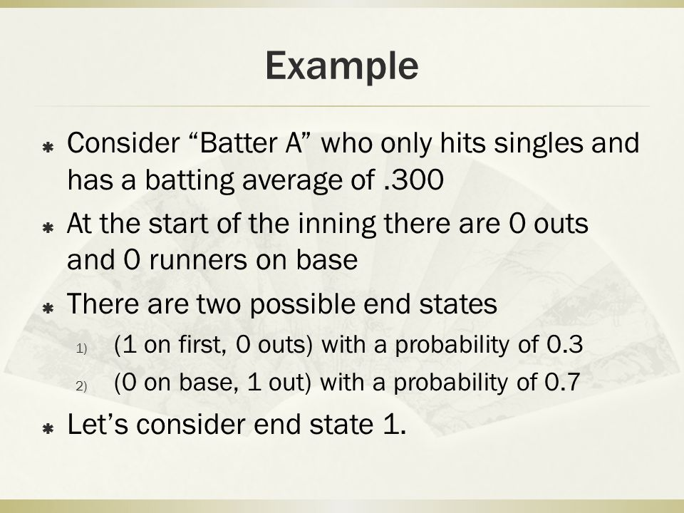 """Example  Consider """"Batter A"""" who only hits singles and has a batting average of.300  At the start of the inning there are 0 outs and 0 runners on ba"""