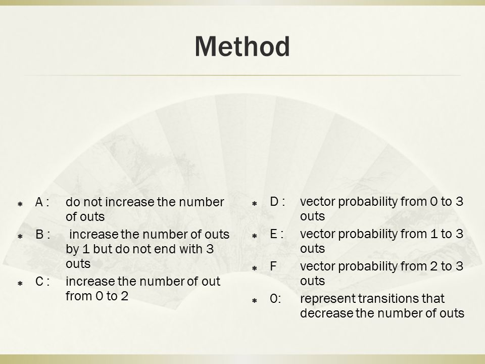 Method  A : do not increase the number of outs  B : increase the number of outs by 1 but do not end with 3 outs  C : increase the number of out fro