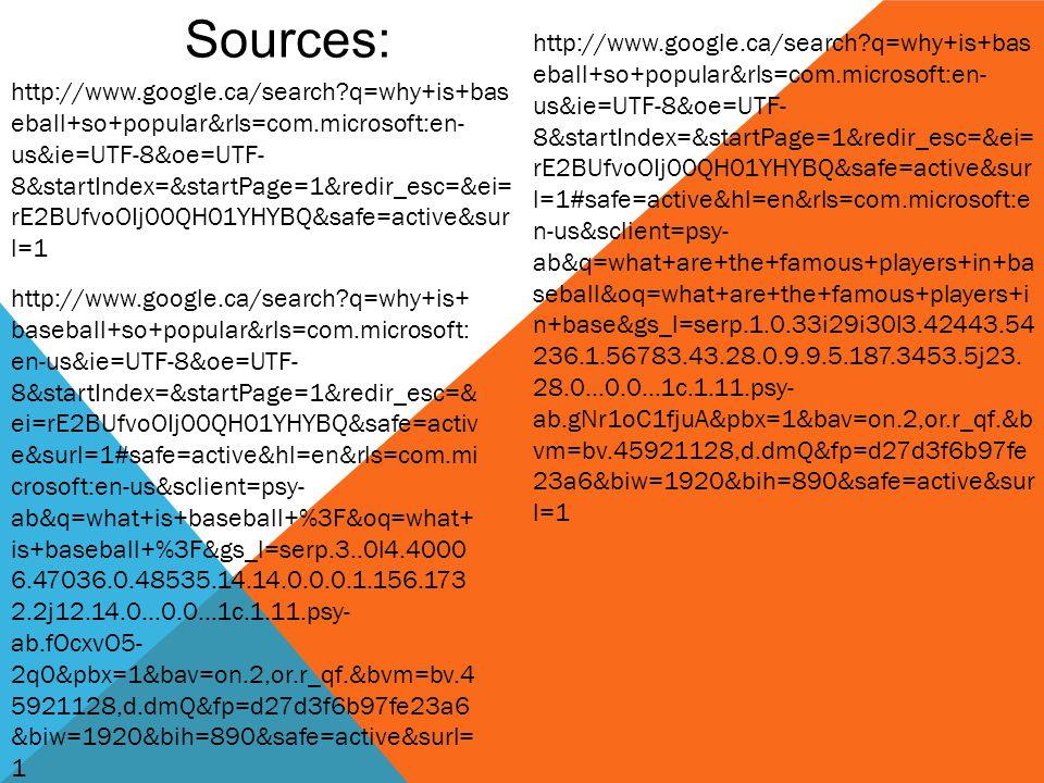 Sources: http://www.google.ca/search q=why+is+bas eball+so+popular&rls=com.microsoft:en- us&ie=UTF-8&oe=UTF- 8&startIndex=&startPage=1&redir_esc=&ei= rE2BUfvoOIj00QH01YHYBQ&safe=active&sur l=1 http://www.google.ca/search q=why+is+ baseball+so+popular&rls=com.microsoft: en-us&ie=UTF-8&oe=UTF- 8&startIndex=&startPage=1&redir_esc=& ei=rE2BUfvoOIj00QH01YHYBQ&safe=activ e&surl=1#safe=active&hl=en&rls=com.mi crosoft:en-us&sclient=psy- ab&q=what+is+baseball+%3F&oq=what+ is+baseball+%3F&gs_l=serp.3..0l4.4000 6.47036.0.48535.14.14.0.0.0.1.156.173 2.2j12.14.0...0.0...1c.1.11.psy- ab.fOcxvO5- 2q0&pbx=1&bav=on.2,or.r_qf.&bvm=bv.4 5921128,d.dmQ&fp=d27d3f6b97fe23a6 &biw=1920&bih=890&safe=active&surl= 1 http://www.google.ca/search q=why+is+bas eball+so+popular&rls=com.microsoft:en- us&ie=UTF-8&oe=UTF- 8&startIndex=&startPage=1&redir_esc=&ei= rE2BUfvoOIj00QH01YHYBQ&safe=active&sur l=1#safe=active&hl=en&rls=com.microsoft:e n-us&sclient=psy- ab&q=what+are+the+famous+players+in+ba seball&oq=what+are+the+famous+players+i n+base&gs_l=serp.1.0.33i29i30l3.42443.54 236.1.56783.43.28.0.9.9.5.187.3453.5j23.