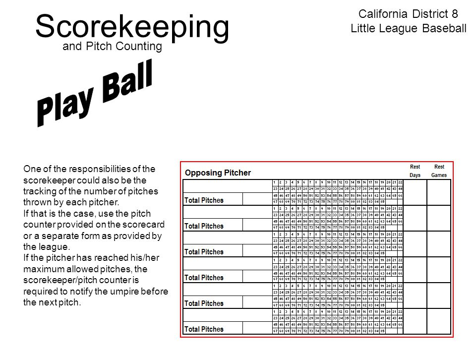 Scorekeeping California District 8 Little League Baseball and Pitch Counting One of the responsibilities of the scorekeeper could also be the tracking of the number of pitches thrown by each pitcher.