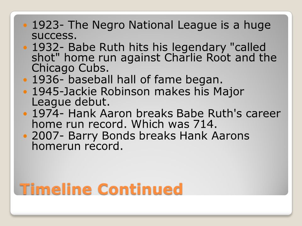 Timeline Continued 1923- The Negro National League is a huge success.