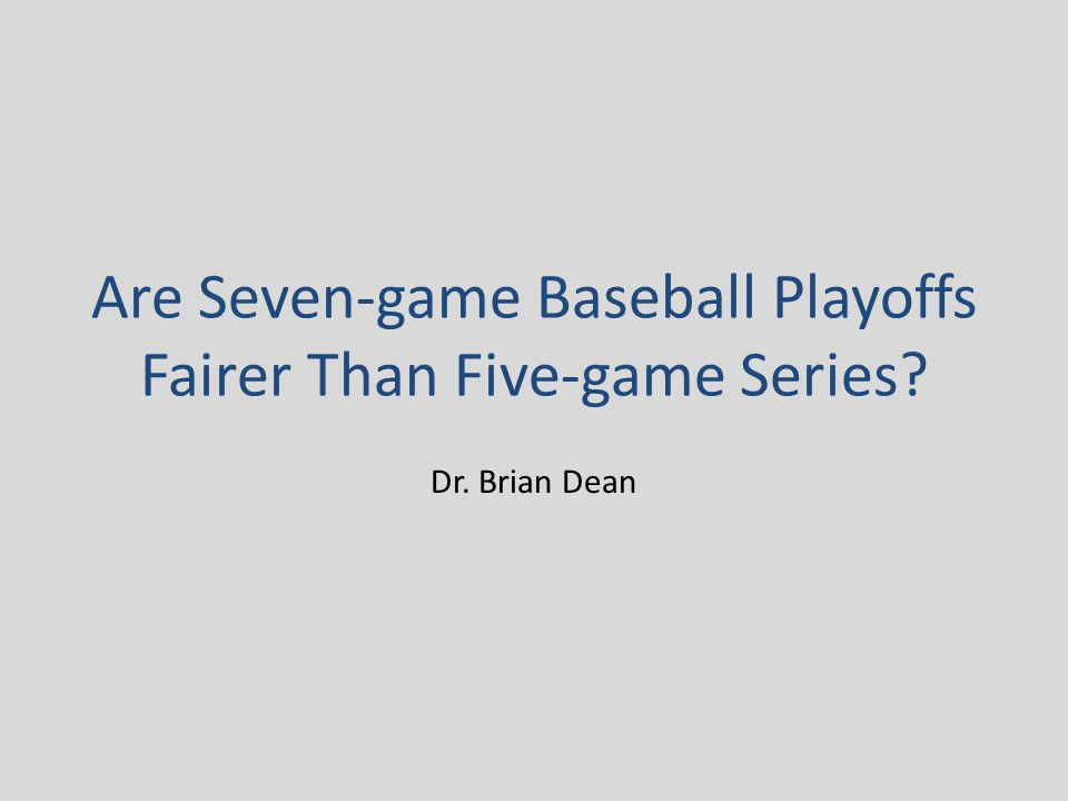 Comparing five-game and seven-game series For each fixed value of r, let f(r,p) denote the probability that the better team would win a seven-game series, minus the probability that it would win a five-game series: f(r,p) = [-20r³p⁷ + (40r³+30r²)p⁶ - (24r³+48r²+12r)p⁵ + (4r³+18r²+12r+1)p⁴] - [6r²p⁵ - (9r²+6r)p⁴ + (3r²+6r+1)p³] = -20r³p⁷ + (40r³+30r²)p⁶ - (24r³+54r²+12r)p⁵ + (4r³+27r²+18r+1)p⁴ - (3r²+6r+1)p³, 0 ≤ p ≤ 1 Note that, if we take r = 1 (that is, treat road games to have the same probability of victory for Team H as home games), then we get f(1,p) = -20p⁷ + 70p⁶ - 90p⁵ + 50p⁴ - 10p³, the same function as in May's model, with the only difference being that we're no longer requiring p ≥ 0.5.