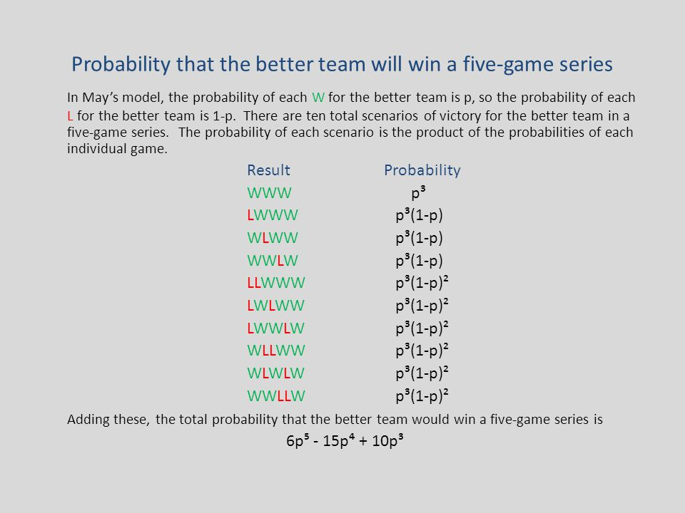 Probability that the better team will win a five-game series In May's model, the probability of each W for the better team is p, so the probability of each L for the better team is 1-p.