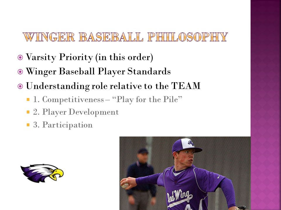  Varsity Priority (in this order)  Winger Baseball Player Standards  Understanding role relative to the TEAM  1.