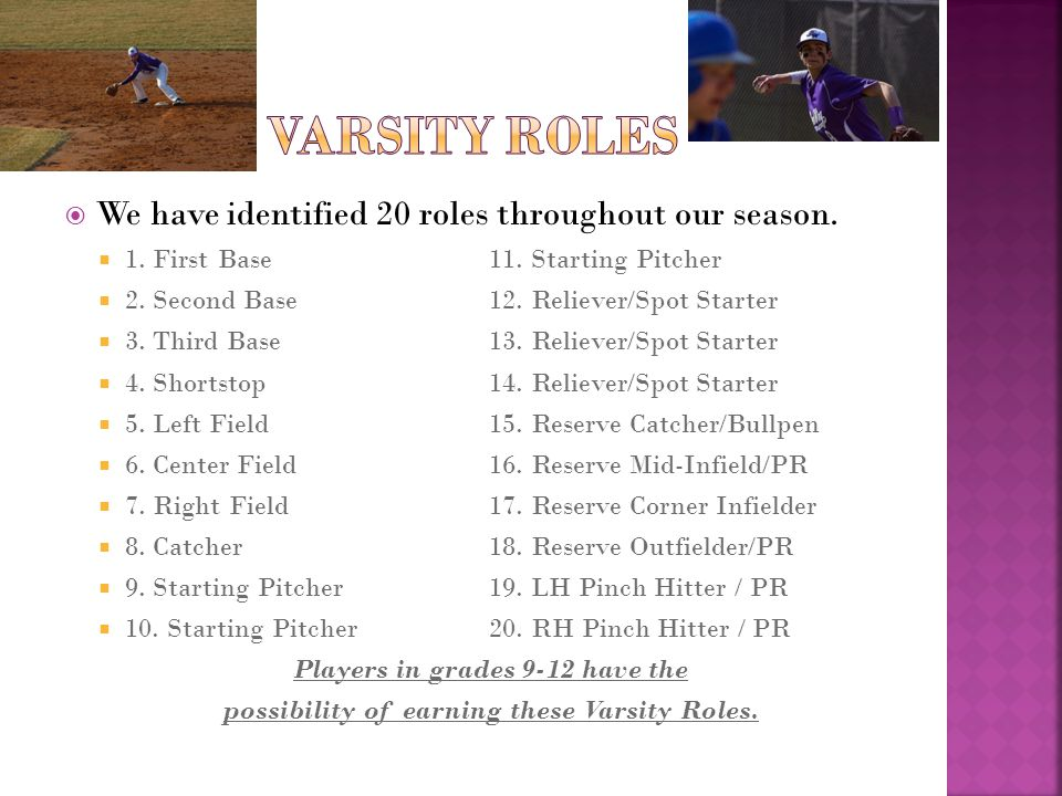  We believe that the ideal varsity roster size is 14- 15  Some players will fill multiple roles  Multifaceted players allow us to keep roster size manageable (and playing time for everyone a reality).