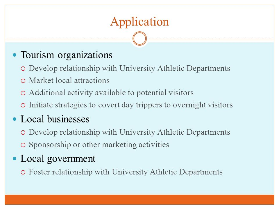 Application Tourism organizations  Develop relationship with University Athletic Departments  Market local attractions  Additional activity available to potential visitors  Initiate strategies to covert day trippers to overnight visitors Local businesses  Develop relationship with University Athletic Departments  Sponsorship or other marketing activities Local government  Foster relationship with University Athletic Departments