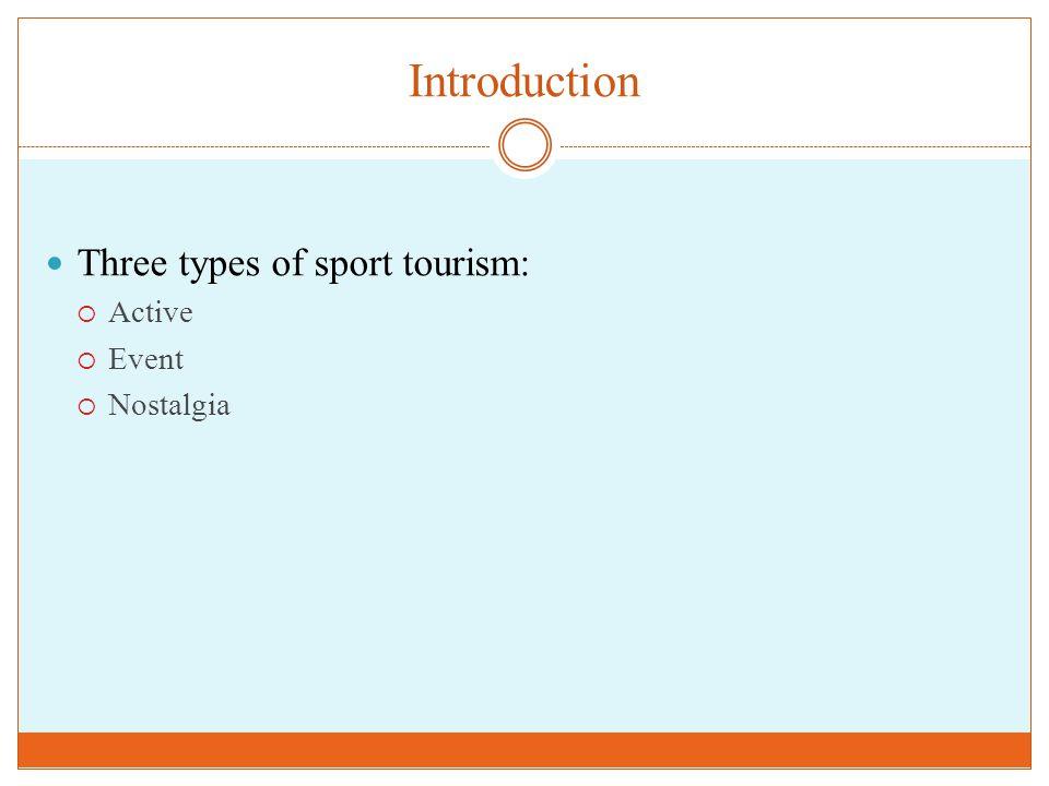Introduction Three types of sport tourism:  Active  Event  Nostalgia